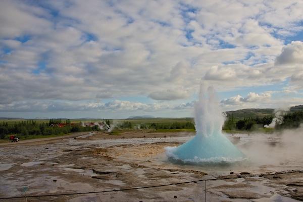 Strokkur geyser in geysir, landscape, Iceland, Vytautas Serys