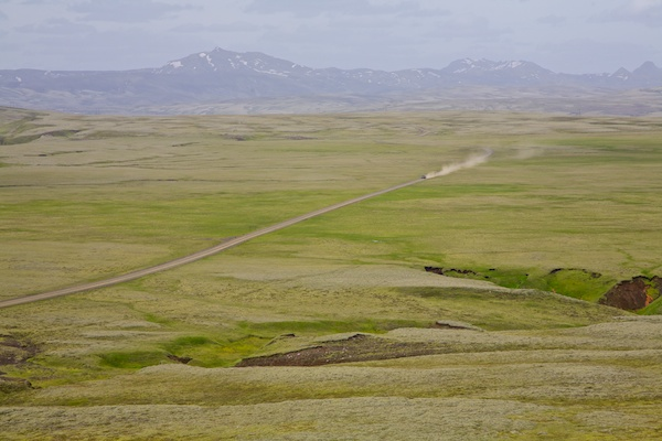 car on the road in highlands, landscape, Iceland, Vytautas Serys