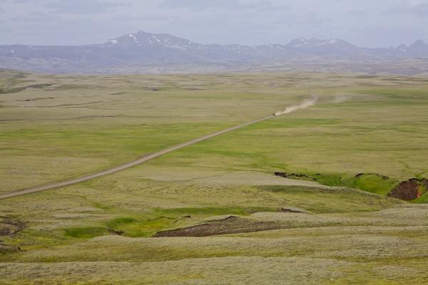 car on the road in highlands, landscape, Iceland, Vytautas Serys