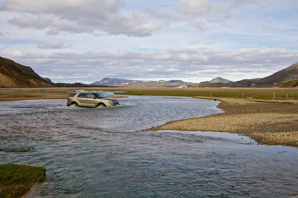 car river crossing, highlands, landscape, Iceland, Vytautas Serys