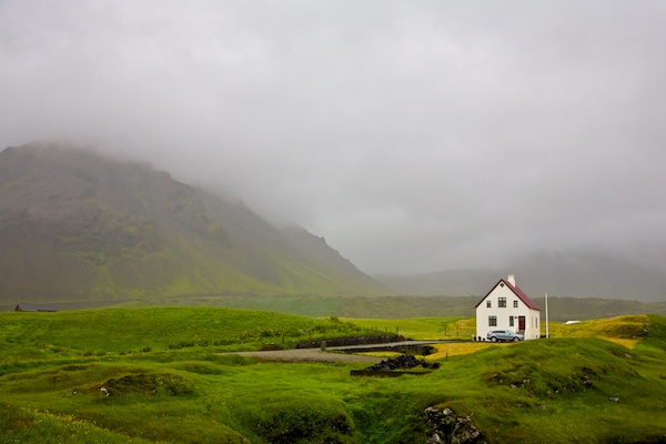 Little house in snaefellsnes peninsula, cloudy landscape, Iceland, Vytautas Serys
