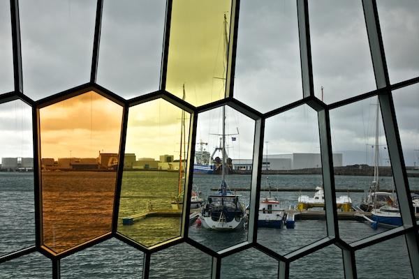 window in harpa, reykjavik, Iceland, Vytautas Serys
